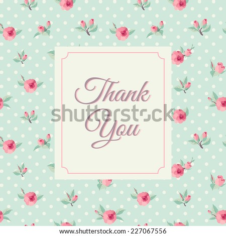 Thank you card template  with rose background. Vintage lettering - stock vector