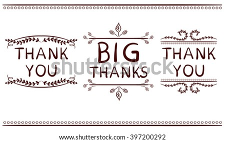 Thank you card templates. Big thanks. VECTOR handwritten words with handdrawn vignettes. Brown lines. - stock vector