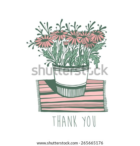 Thank you card with flowers - stock vector