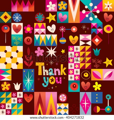 thank you card with hearts, stars and flowers retro abstract art - stock vector