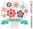 Thank you card with retro style flower posy and vintage ribbon banner. Also great for birthday, Mothers Day, thank you, social media, web banner. - stock vector