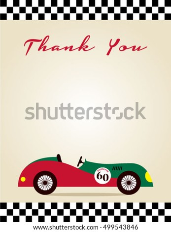 thank you card with vintage racing car graphic