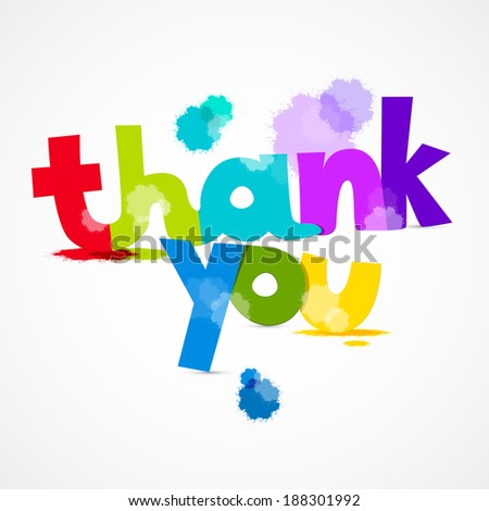 Thank You Colorful Title with Splashes Isolated on Grey Background - stock vector
