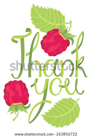 Thank you Design card with raspberry - stock vector