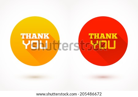 Thank you flat icons. Vector trendy illustration. - stock vector