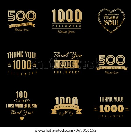 Thank you followers, badges, stickers and labels - stock vector