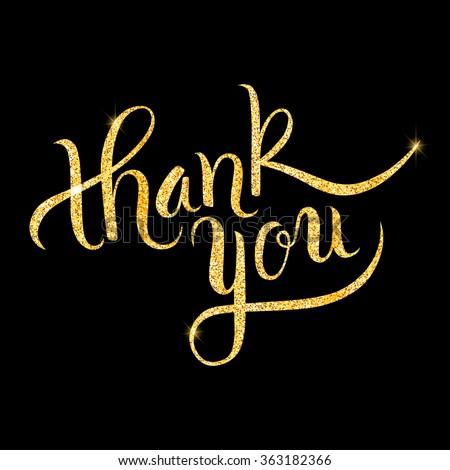 Thank you glitter golden hand lettering. Vector illustration for your design - stock vector