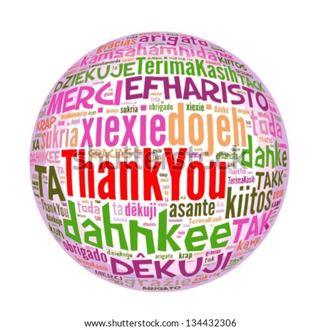 Thank you globe concept word in many languages of the world. - stock vector