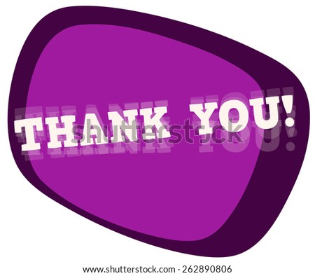 Thank You Glossy Sticker Sign, Vector Illustration isolated on White Background. - stock vector