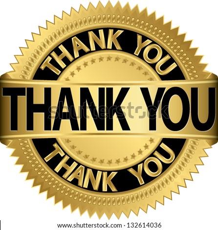 Thank you golden label, vector illustration - stock vector