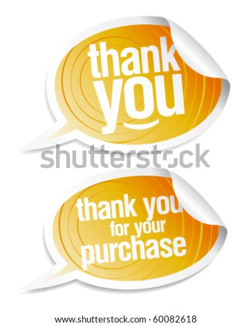 Thank you grateful stickers in form of speech bubbles. - stock vector