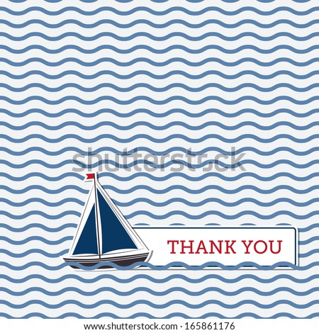 Thank you greeting card with boat, nautical background - stock vector