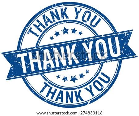 thank you grunge retro blue isolated ribbon stamp - stock vector