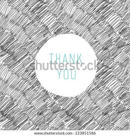 Thank You Hand Drawn Card - stock vector