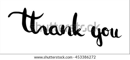 Thank you hand drawn poster or card. Ink illustration. Brush calligraphy. Hand drawn lettering. Isolated on white background. Hand Lettered Quote. Modern Calligraphy