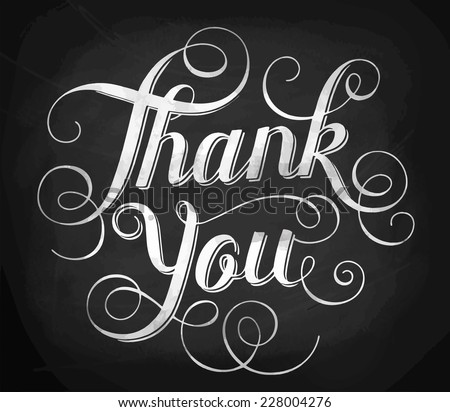Thank you. Hand lettering. Calligraphy - stock vector