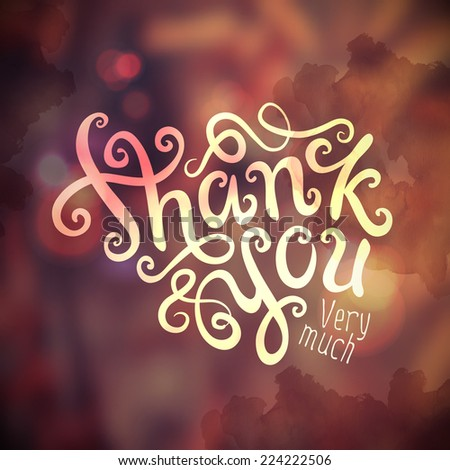 Thank You hand lettering - handmade calligraphy, vector - stock vector