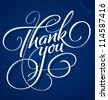 THANK YOU hand lettering - handmade calligraphy, vector (eps8) - stock vector