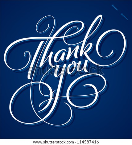 THANK YOU hand lettering - handmade calligraphy, vector (eps8)