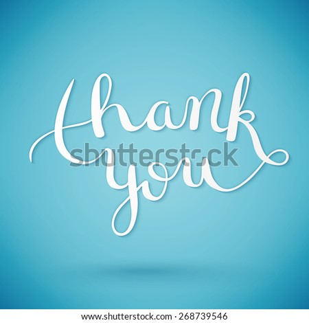 Thank you hand lettering, handmade calligraphy, vector illustration - stock vector