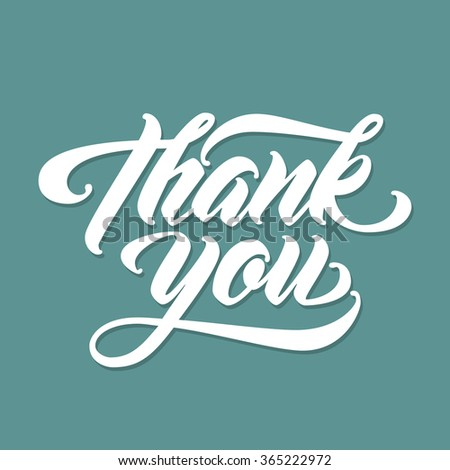 THANK YOU Hand lettering. Handmade vector calligraphy - stock vector