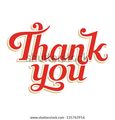 Thank You hand lettering, vector inscription - stock vector