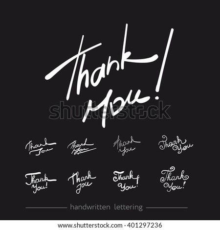 Thank you - handwritten vector illustration, dark brush pen lettering, several variants. - stock vector
