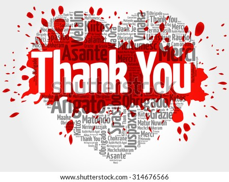 Thank You in many languages, love heart vector word cloud background with red splash - stock vector