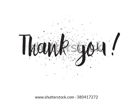 Thank you inscription. Greeting card with calligraphy. Hand drawn design. Black and white. Usable as photo overlay. - stock vector