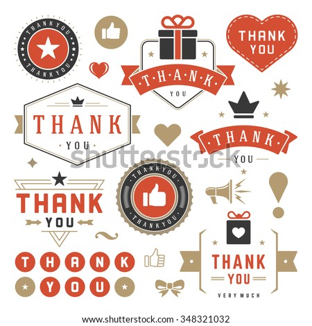 Thank You Labels and Badges typography design elements set. Hearts, Ribbons, Thumb up icons and Crowns. For Greetings cards, emblems, stickers, tags, posters and other. - stock vector