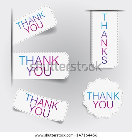 thank you Labels elements - stock vector