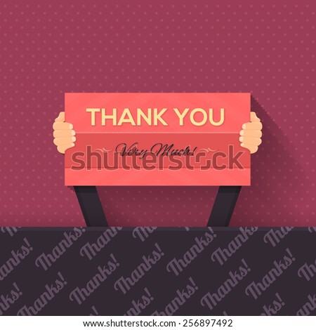 Thank You Lettering Signboard Hold Hand Flat Vector Design - stock vector