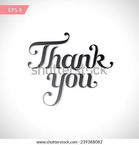 Thank you - lettering words, calligraphy - stock vector