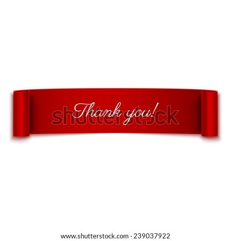 Thank you message on red ribbon banner isolated on white - stock vector