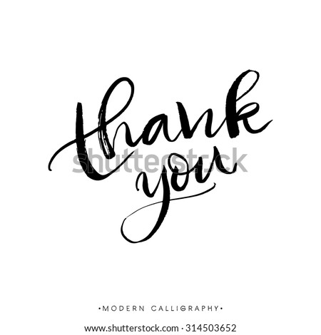 Thank you. Modern brush calligraphy. Handwritten ink lettering. Hand drawn design elements. - stock vector
