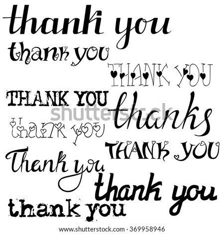Thank You Word Modern Hand Writing Stock Vector 528391372