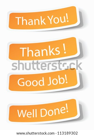 Thank you notes as stickers with shadow effects, vector illustrations in eps10. - stock vector