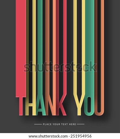 Thank you paper cut text on abstract background with drop shadows. Vector illustration. - stock vector