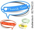 Thank you paper sticker - stock vector
