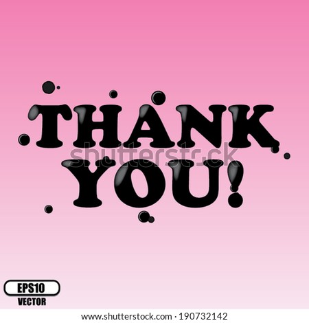 Thank You pink card, sticker, label and poster - vector - stock vector