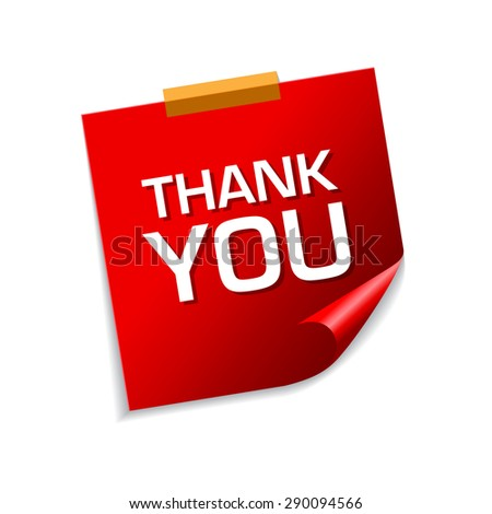 Thank You Red Sticky Notes Vector Icon Design - stock vector