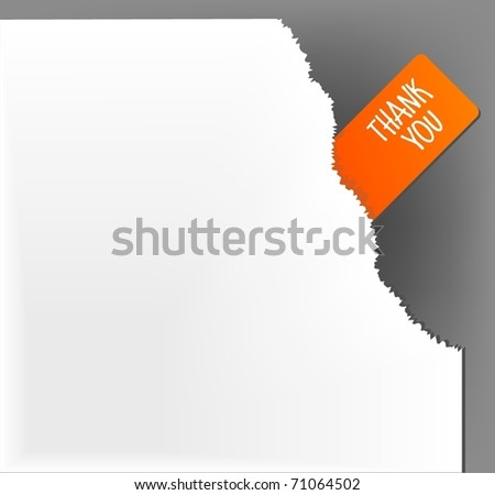 Thank you sign in the corner, vector - stock vector