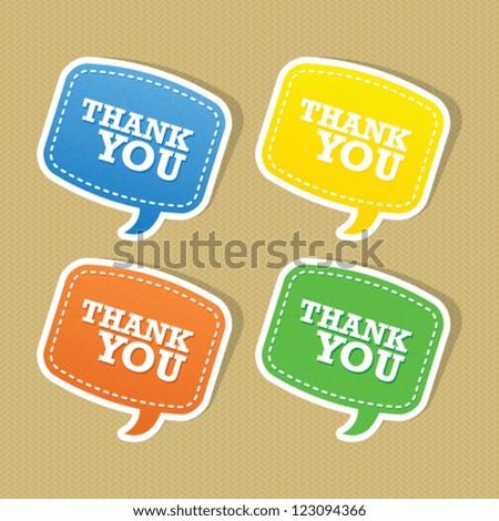 Thank You Speech Bubble Set - stock vector