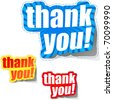 THANK YOU. Sticker collection. Vector illustration. - stock photo