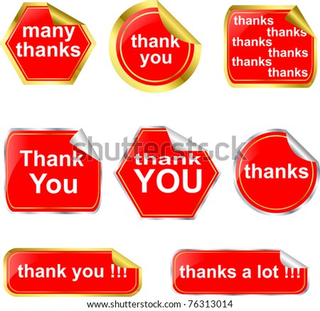 Thank you stickers and labels set, vector