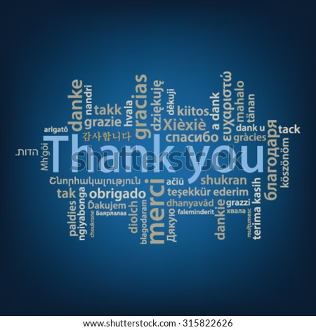 Thank You tag cloud in different languages - stock vector