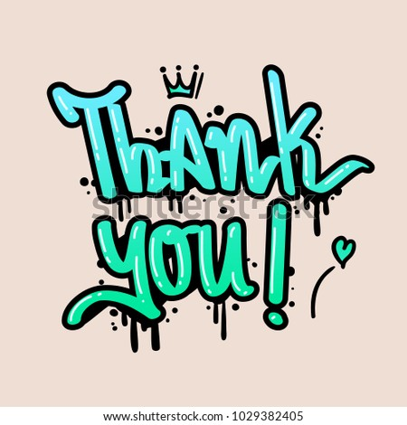 thank you text graffiti style vector stock vector royalty free