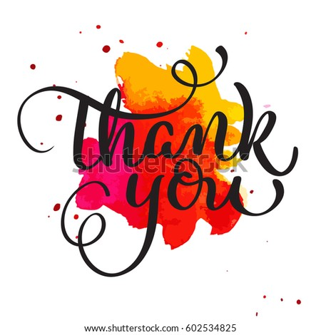 thank you text on watercolor red stock vector 602534825 shutterstock