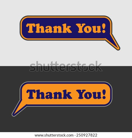 thank you - two blue and orange vector speech bubbles