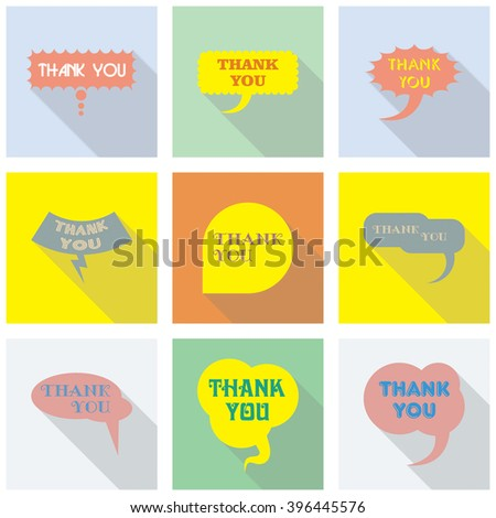 Thank you vector, appreciation and gratitude speech bubble set. Collection of cute speech balloon with shadows and writing on it. Icons set for business.   - stock vector